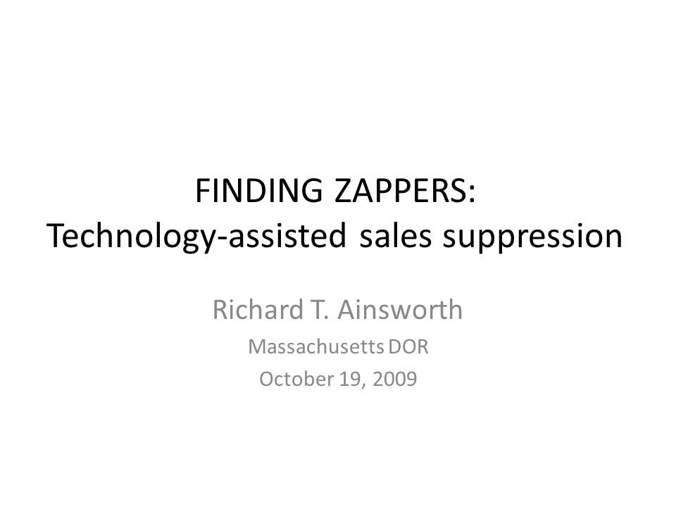 FINDING ZAPPERS: Technology-assisted sales suppression