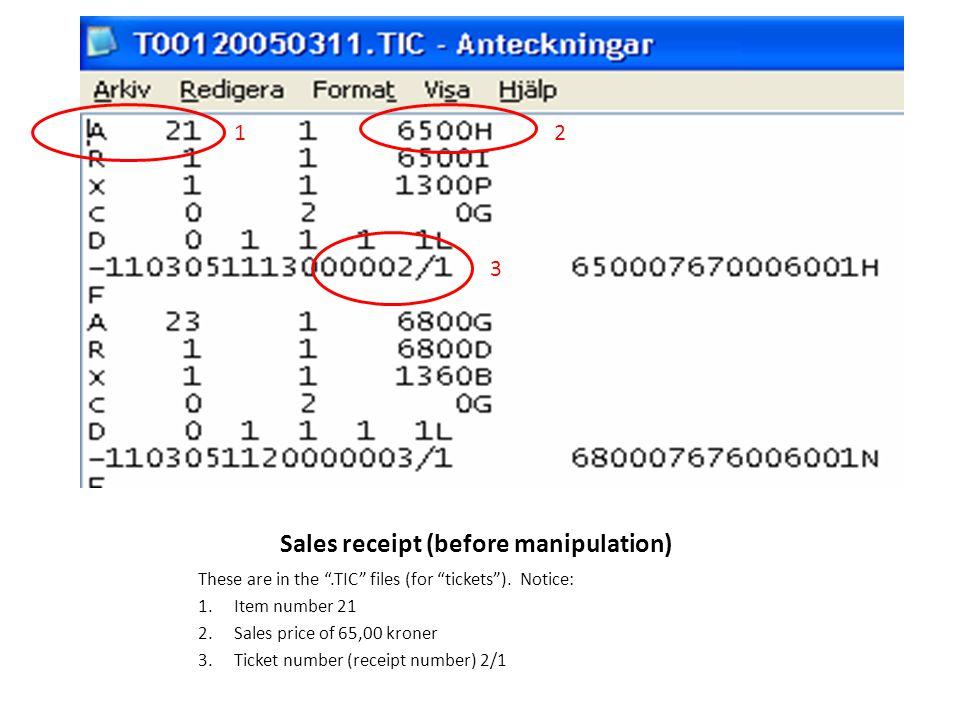 Sales receipt (before manipulation)