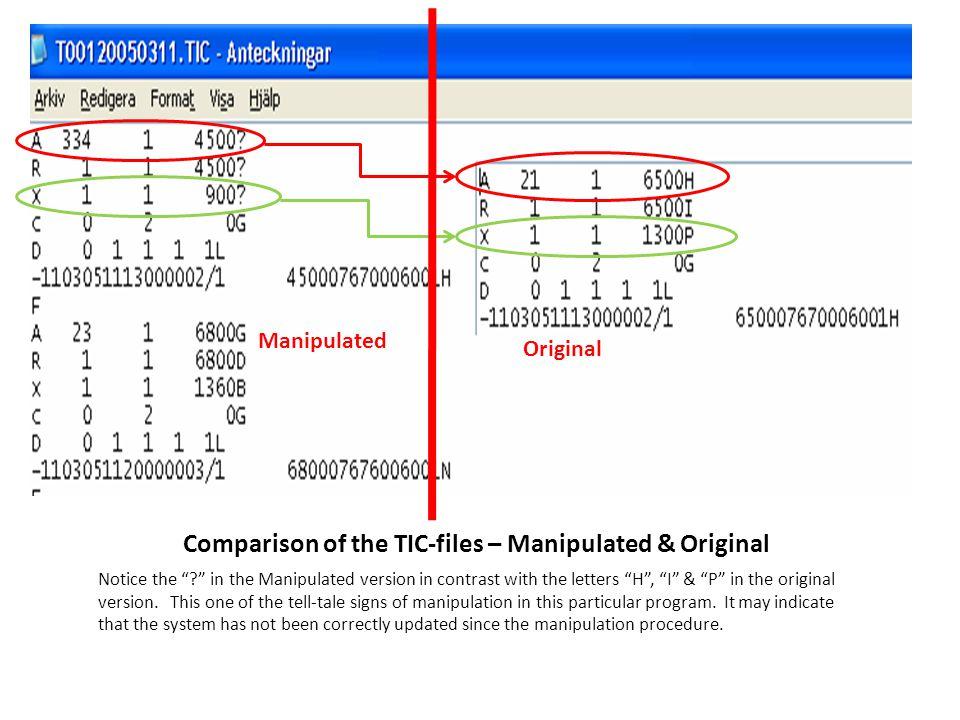 Comparison of the TIC-files – Manipulated & Original