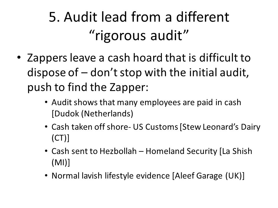 5. Audit lead from a different rigorous audit