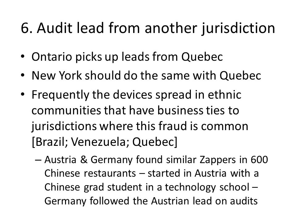 6. Audit lead from another jurisdiction