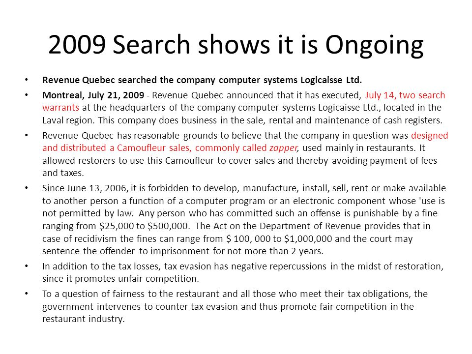 2009 Search shows it is Ongoing