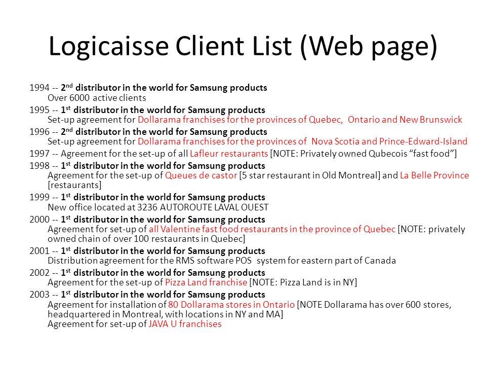 Logicaisse Client List (Web page)