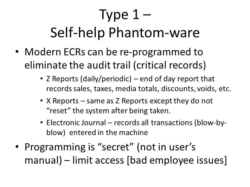 Type 1 – Self-help Phantom-ware