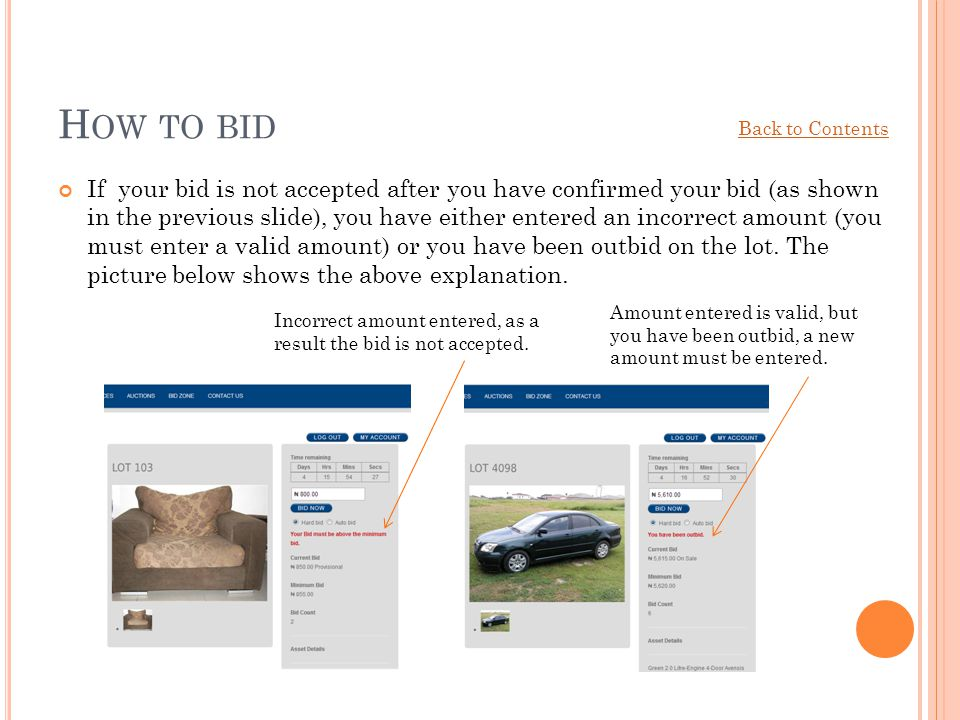 How to bid Back to Contents.