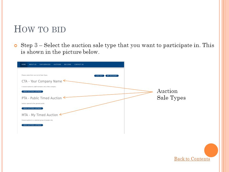 How to bid Step 3 – Select the auction sale type that you want to participate in. This is shown in the picture below.