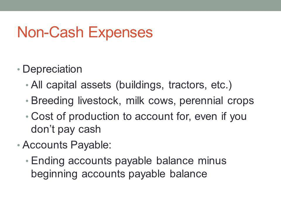 Non-Cash Expenses Depreciation