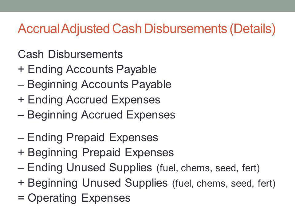 Accrual Adjusted Cash Disbursements (Details)