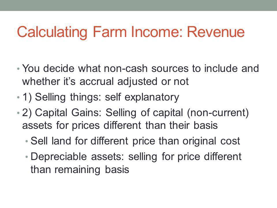 Calculating Farm Income: Revenue
