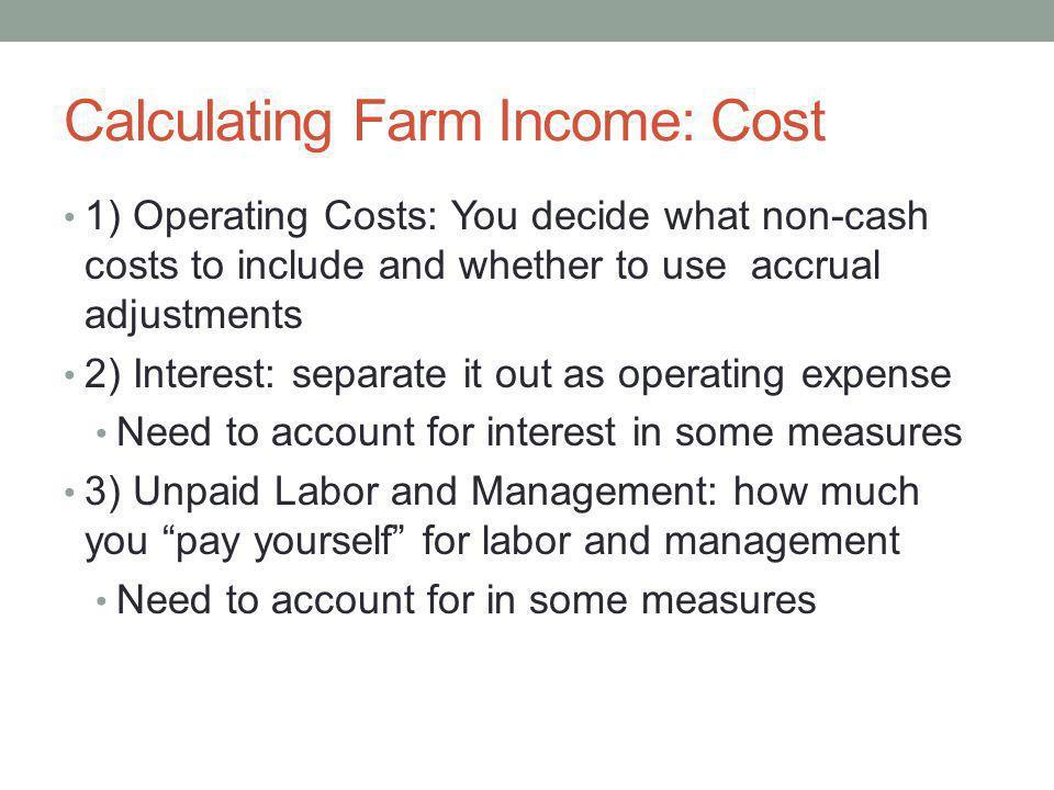 Calculating Farm Income: Cost