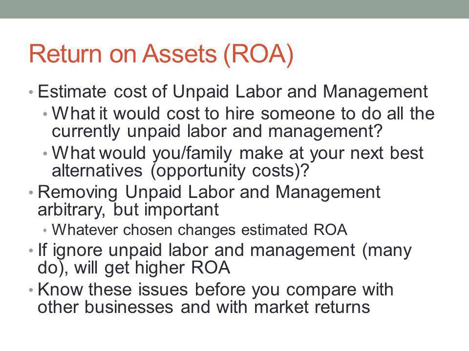 Return on Assets (ROA) Estimate cost of Unpaid Labor and Management