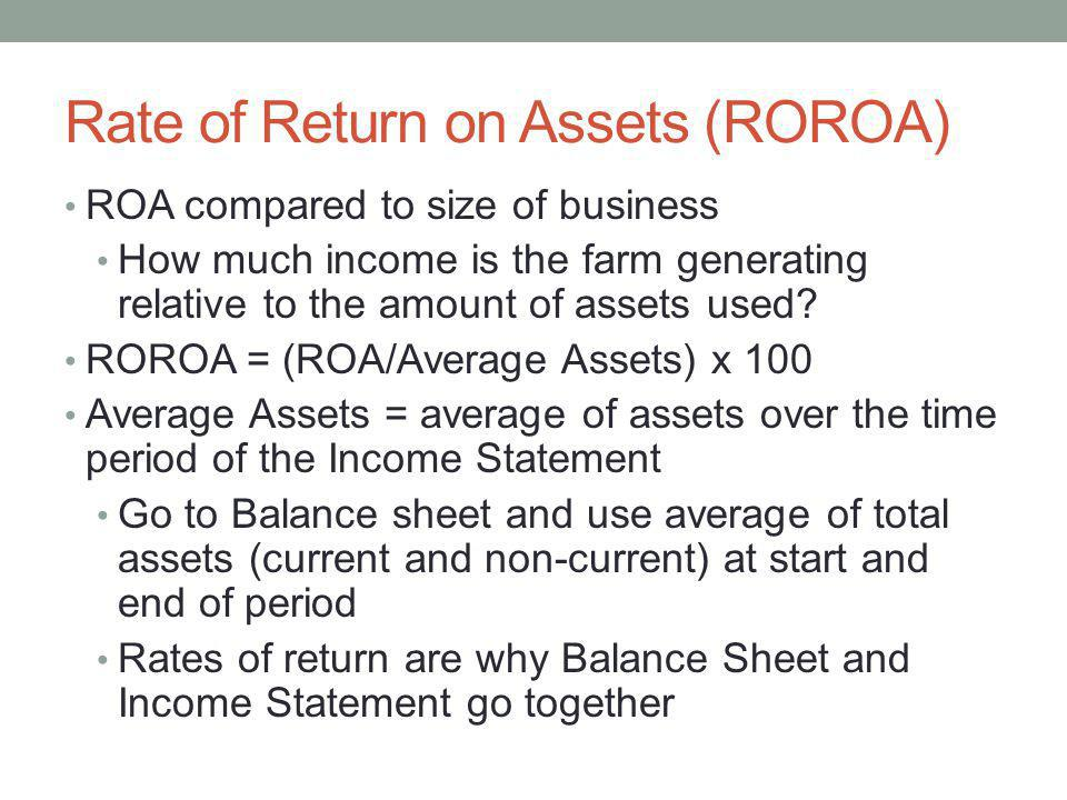 Rate of Return on Assets (ROROA)