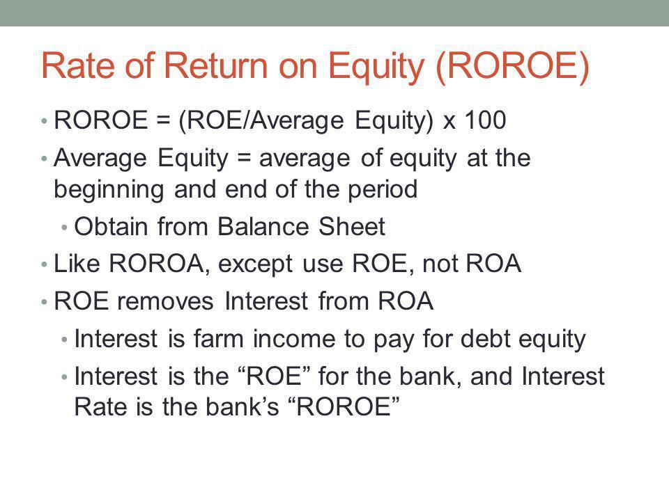 Rate of Return on Equity (ROROE)