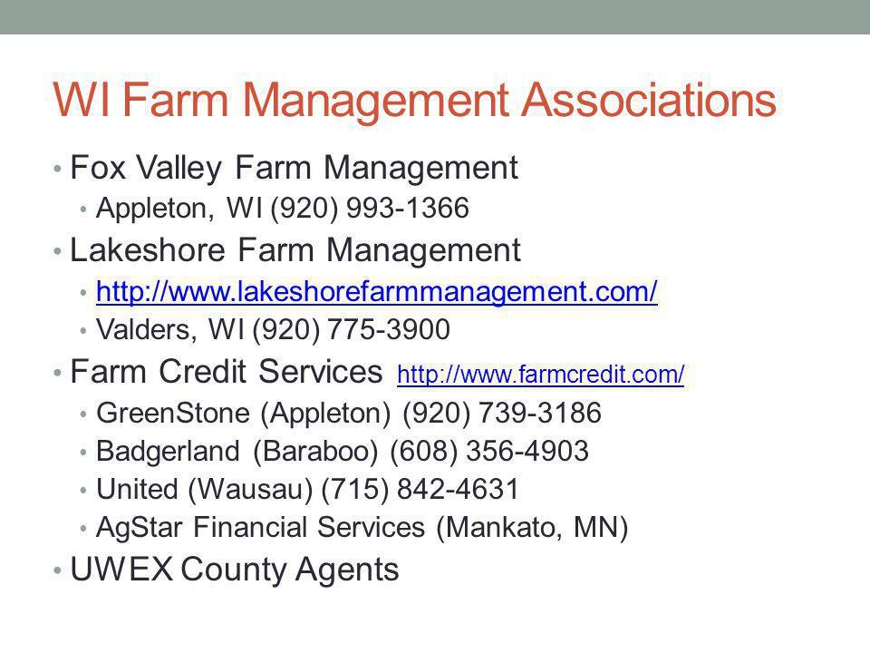 WI Farm Management Associations