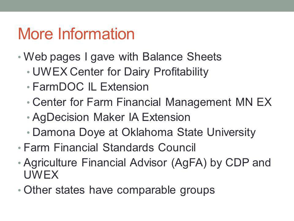 More Information Web pages I gave with Balance Sheets