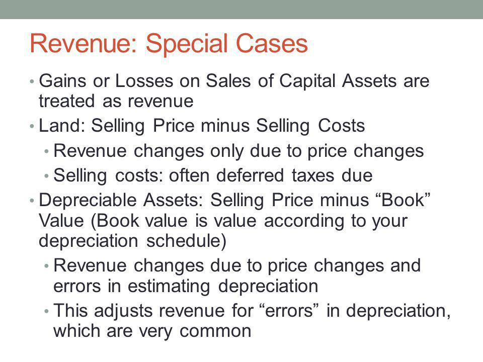 Revenue: Special Cases