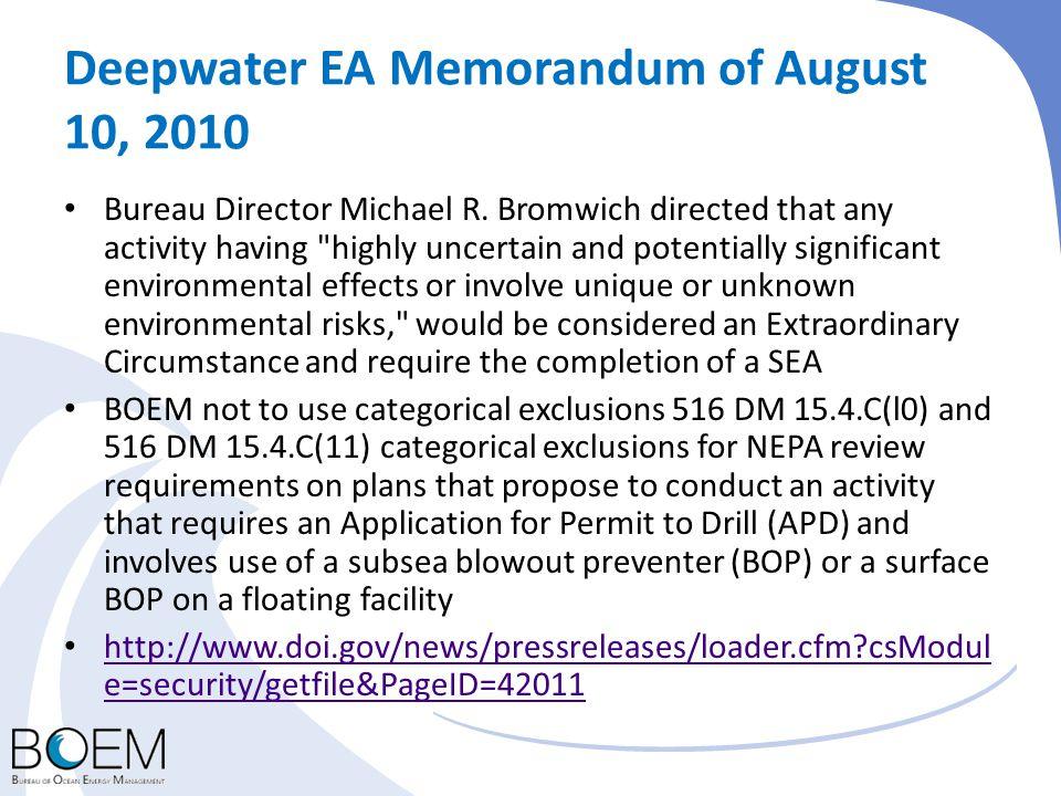 Deepwater EA Memorandum of August 10, 2010