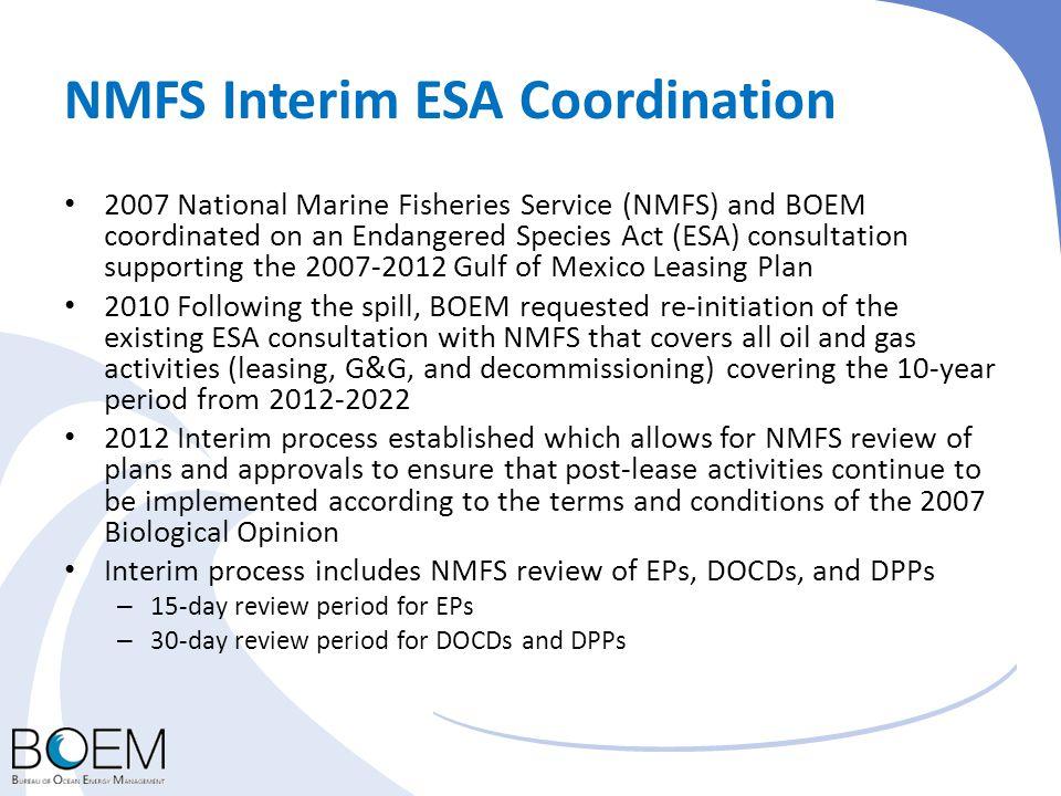 NMFS Interim ESA Coordination