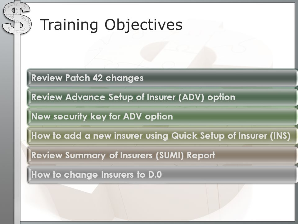 Training Objectives Review Patch 42 changes