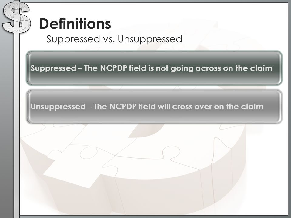Definitions Suppressed vs. Unsuppressed