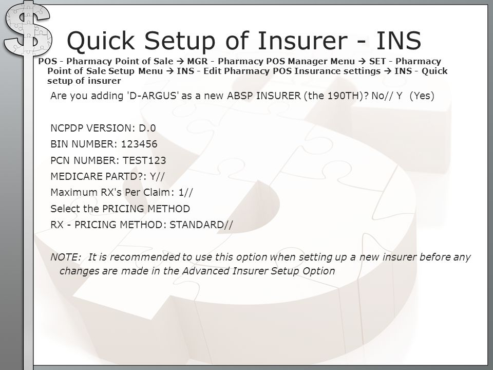 Quick Setup of Insurer - INS