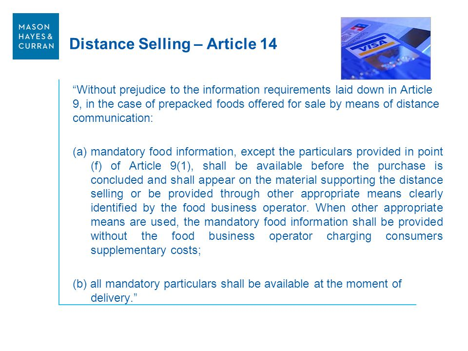 Distance Selling – Article 14
