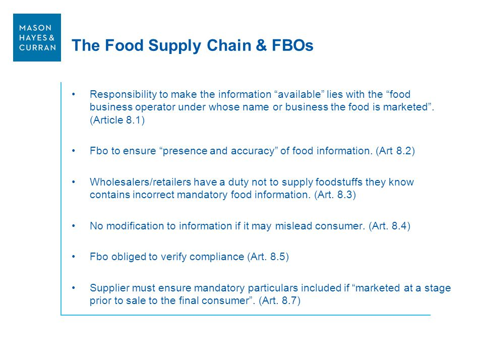 The Food Supply Chain & FBOs