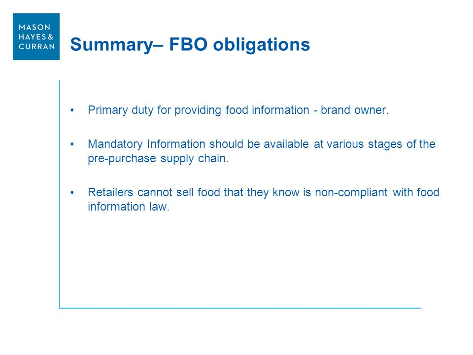 Summary– FBO obligations