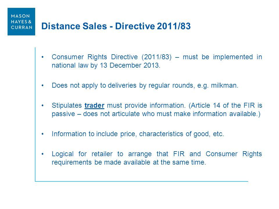 Distance Sales - Directive 2011/83