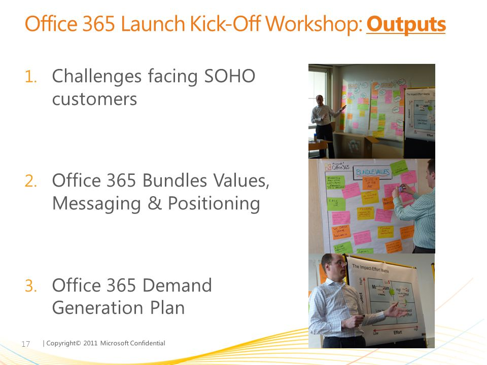 Office 365 Launch Kick-Off Workshop: Outputs