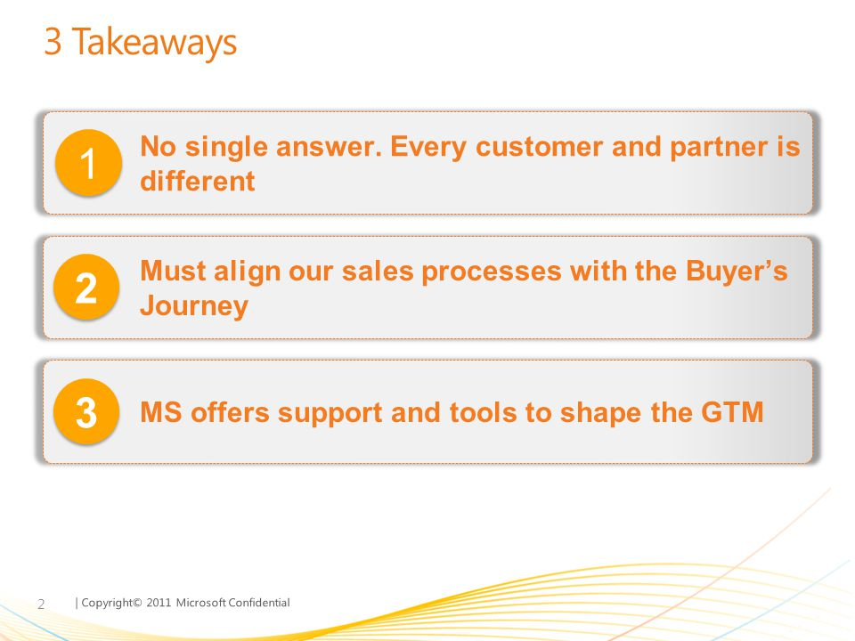 MGX FY11 3/31/2017. 3 Takeaways. No single answer. Every customer and partner is different. 1.