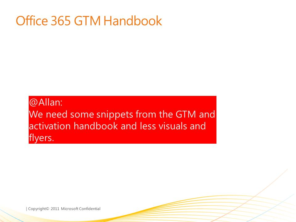 Office 365 GTM Handbook @Allan: