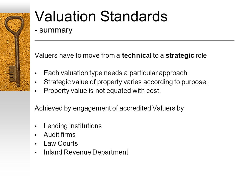 Valuation Standards - summary ___________________________________________________________________