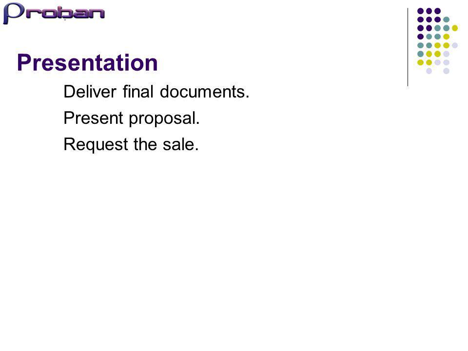 Presentation Deliver final documents. Present proposal.