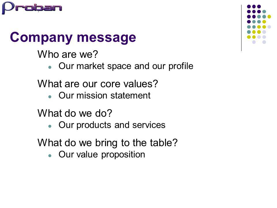 Company message Who are we What are our core values What do we do