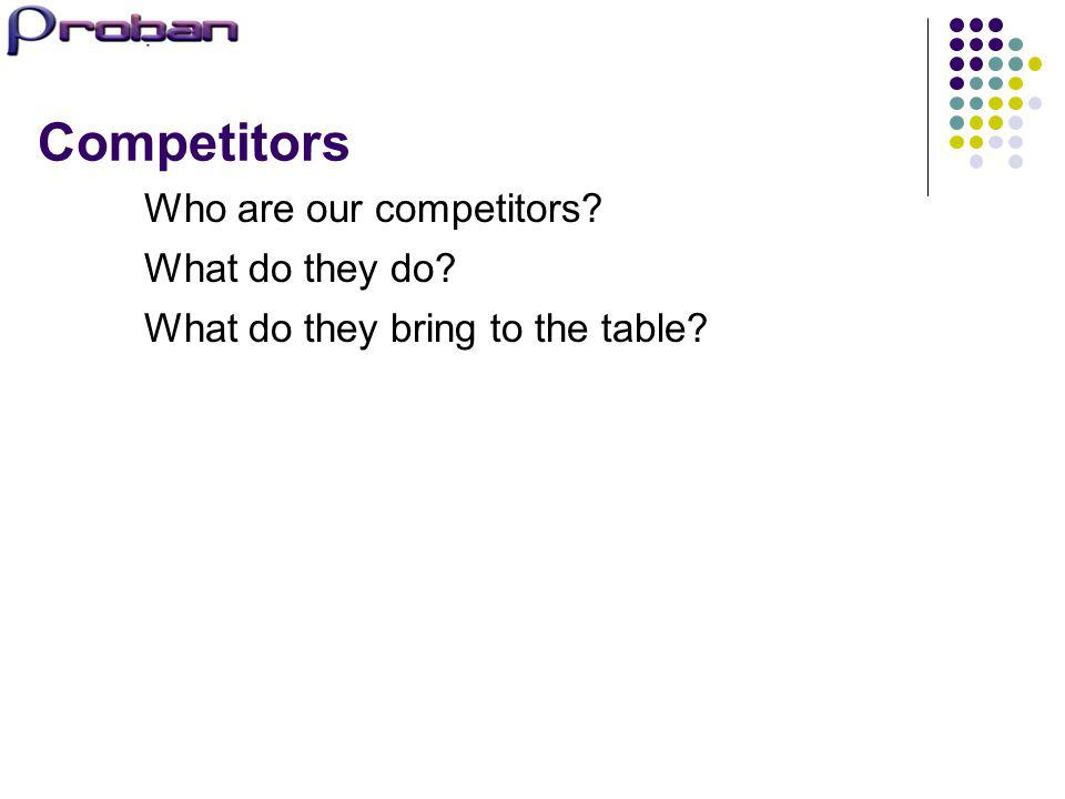 Competitors Who are our competitors What do they do
