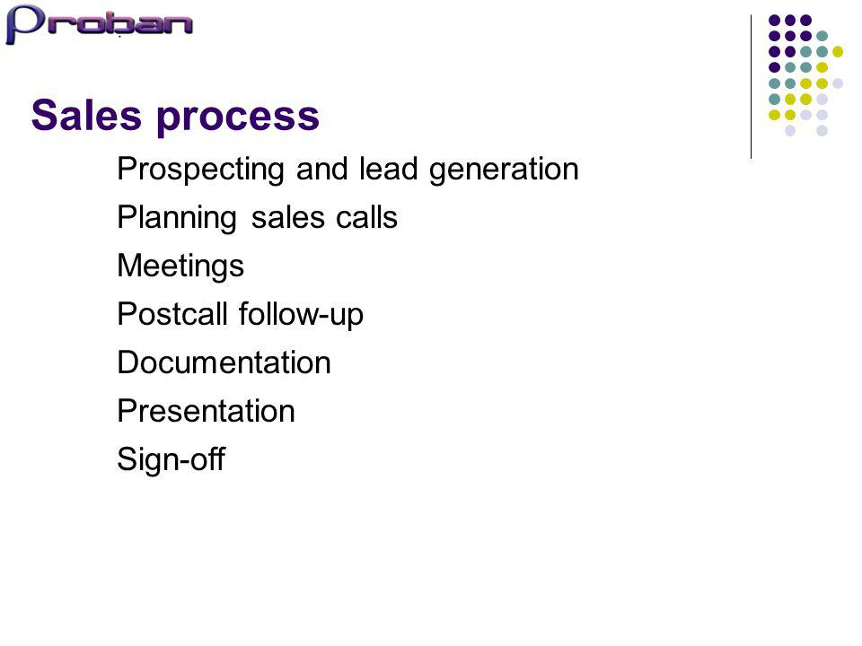 Sales process Prospecting and lead generation Planning sales calls