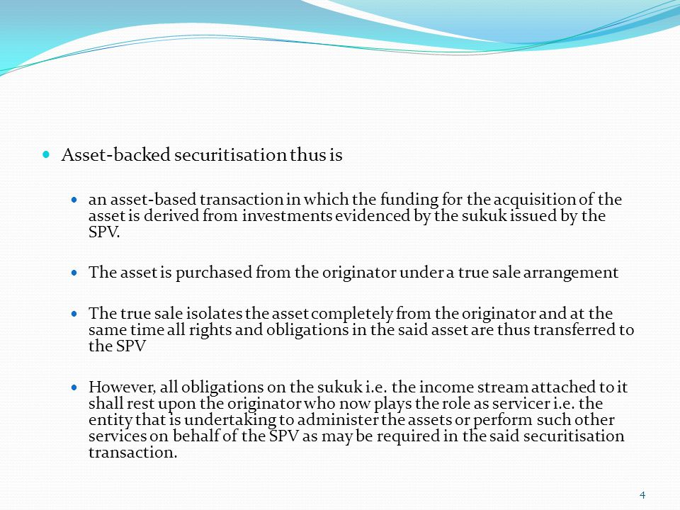 Asset-backed securitisation thus is