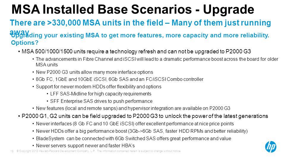 MSA Installed Base Scenarios - Upgrade