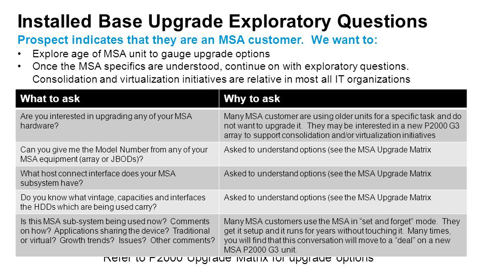 Installed Base Upgrade Exploratory Questions