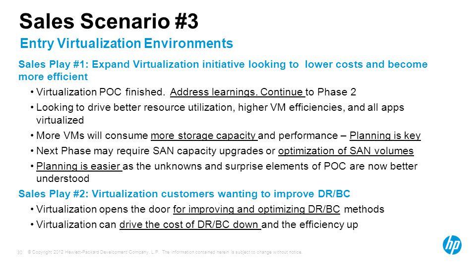 Sales Scenario #3 Entry Virtualization Environments