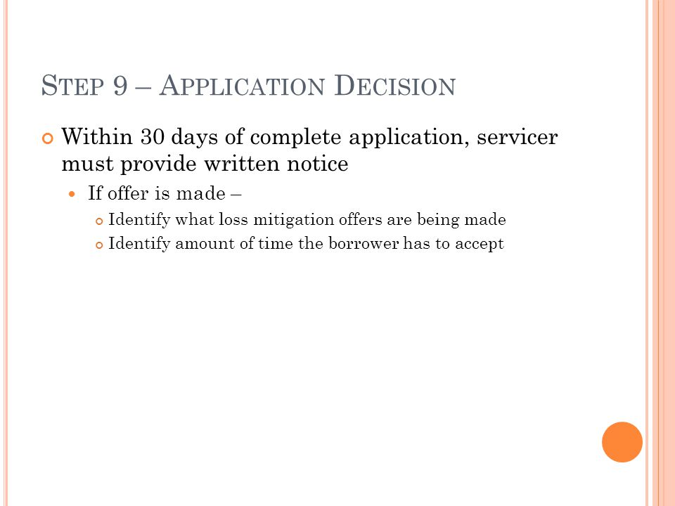 Step 9 – Application Decision