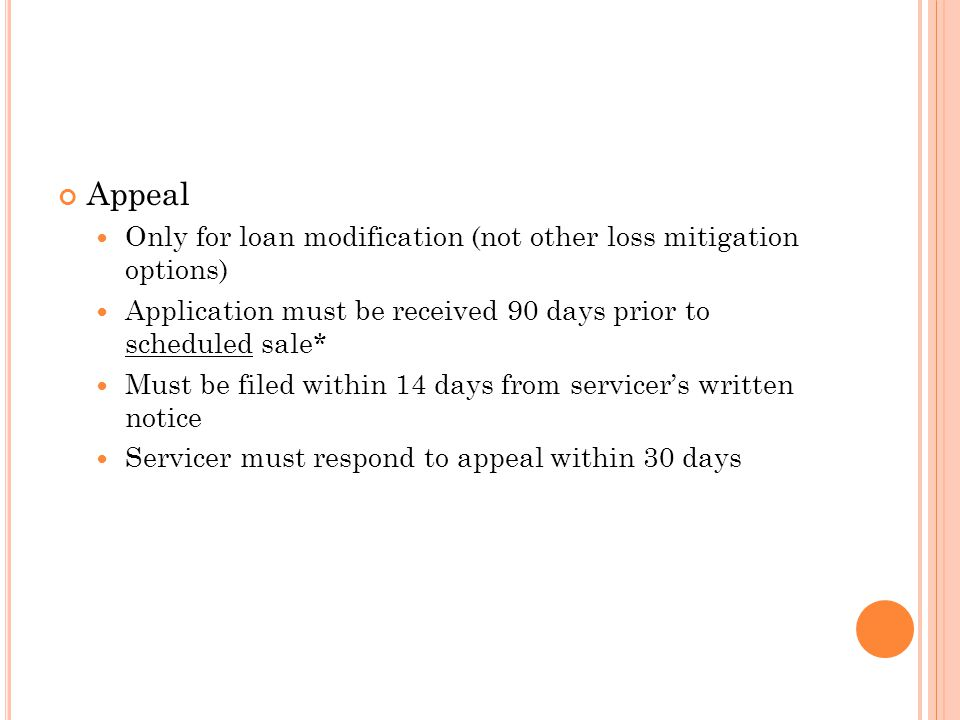 Appeal Only for loan modification (not other loss mitigation options)