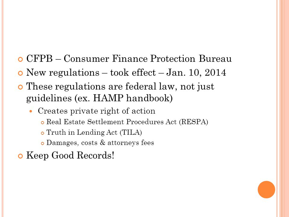 CFPB – Consumer Finance Protection Bureau