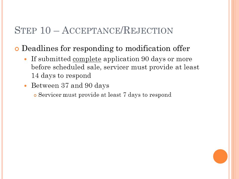 Step 10 – Acceptance/Rejection