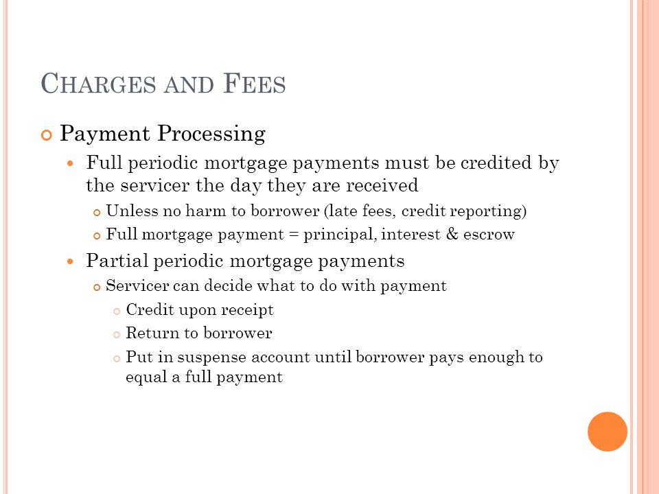 Charges and Fees Payment Processing