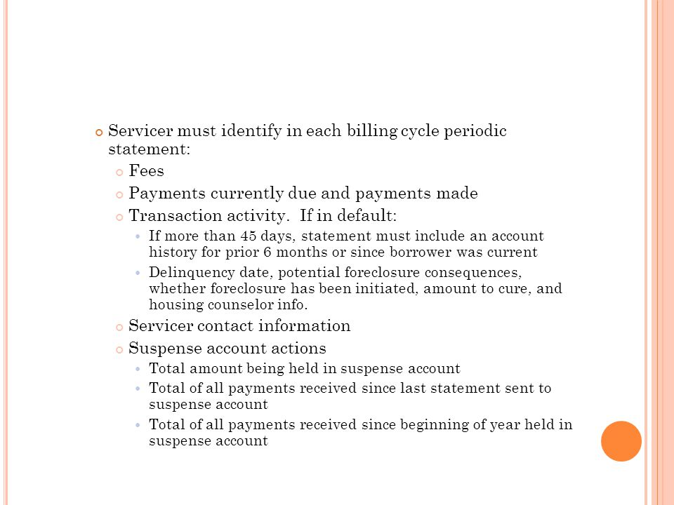 Servicer must identify in each billing cycle periodic statement: Fees