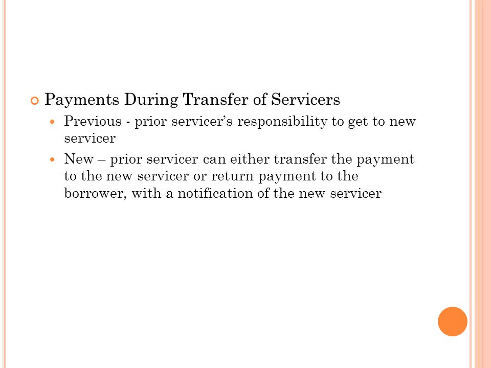 Payments During Transfer of Servicers