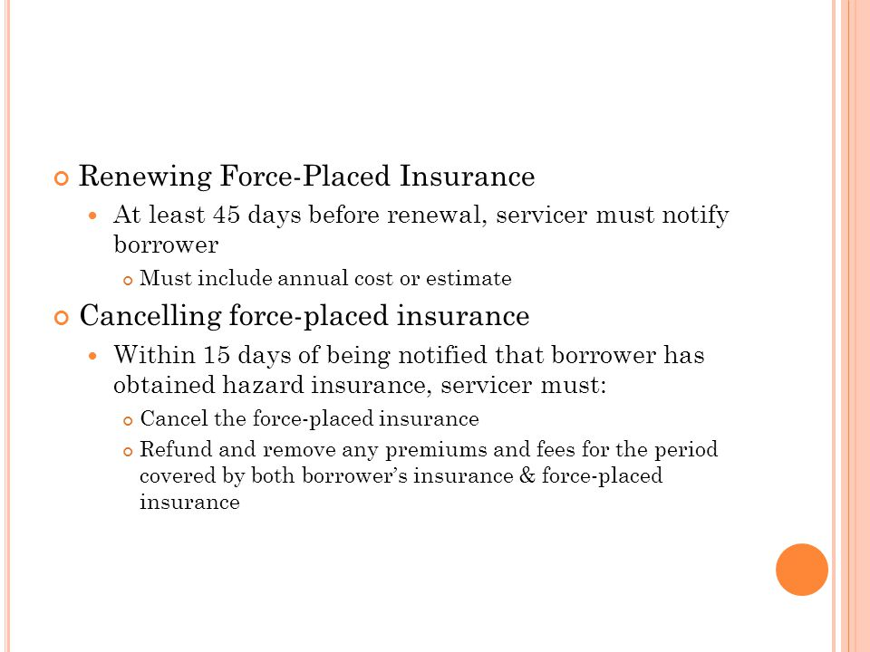 Renewing Force-Placed Insurance