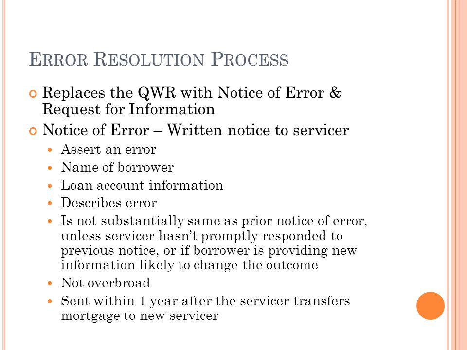 Error Resolution Process
